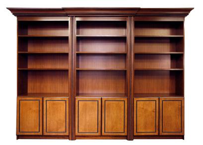 Äldre bokhylla i tung ekfaner