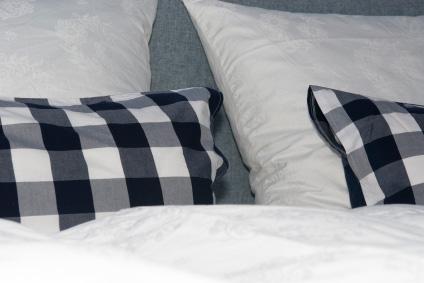 Rutiga mönster är typiska för Hästens sängar