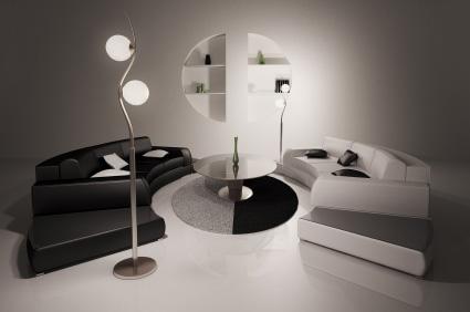 Runda soffor och runda soffbord i stilfull miljö