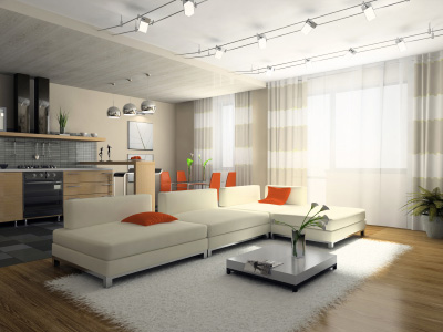 Divansoffa i modernt vardagsrum
